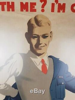 Post WW2 British RAF Royal Air Force Come With Me I'm Going Back Poster 1946