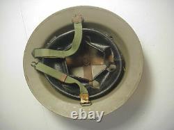 Post WWII BRITISH TYPE DUTCH B56 2SLN STEEL HELMET with Liner & Chin Strap