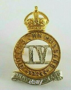 Rare 4th Queens Own Hussars Post 1906 Gilt / Silver Overlay Officers Cap Badge