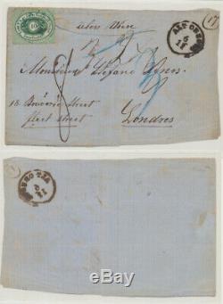 Romania 1866 Calafat DDSG Austria ship post cover to Great Britain via Hungary