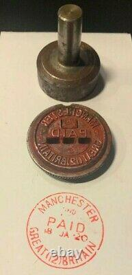 Royal Mail / Post Office Hand Stamper Manchester GB Scarce Red Paid Die Face