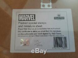 SEALED Royal Mail LIMITED of 200 SIGNED Alan Davis Framed Marvel Stamps Set