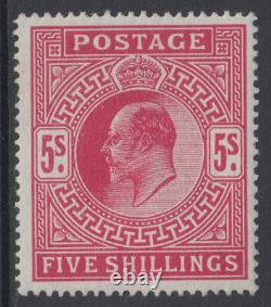 SG 318 5/- Carmine M52 (2) in Post Office fresh unmounted mint condition