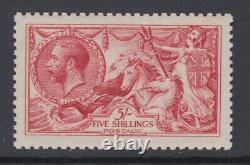 SG 409 5/- Carmine N67 (2) De La Rue Seahorse Post Office fresh unmounted mint