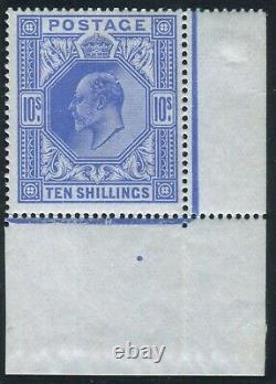 Sg 319 10/- Blue. A superb Post Office fresh Date Cut corner marginal example