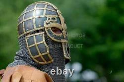 Viking Nasal Helmet Medieval 16 Gage Steel Chain Mail Helmet halloween Gift Item