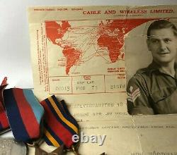 WW2 Medal Group J Woodward Royal engineers with Post war Telegram Japan service