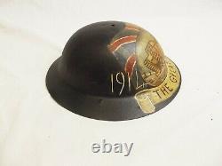 WWI British Raw Edge Brodie Helmet With Post War Commemorative Painting