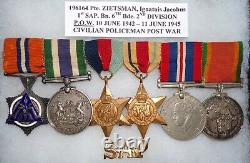 Ww 2 & Post War South African (p. O. W.) 6 Medal Grouping To A Military Policeman