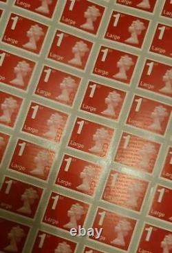 X1000 Royal Mail 1st First Class Large Letter security Unfranked STAMPS on Sheet